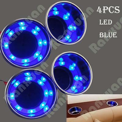 4Pcs Stainless Steel Cup Drink Holder Blue LED Built-in For Marine Boat Truck RV