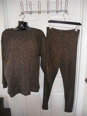 Frederick's of Hollywood Black and Gold Metallic Pants/Shirt Set ~ Size L