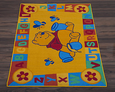 Official Disney Educational Rug ABC Winnie the Pooh in Yellow 95cm x 133cm