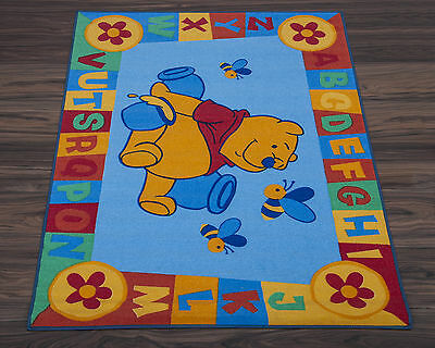 Official Disney Educational Rug ABC Winnie the Pooh in Blue 95cm x 133cm