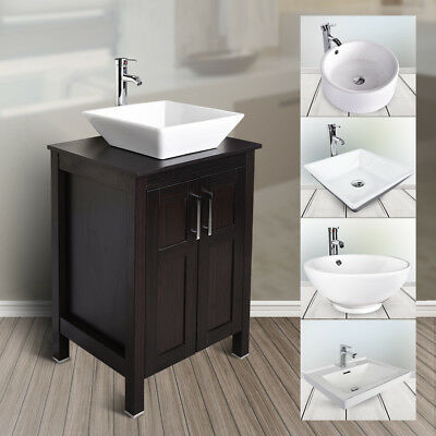 24'' Bathroom Vanity Floor Cabinet Single Top Vessel Sink Basin Faucet Drain Set
