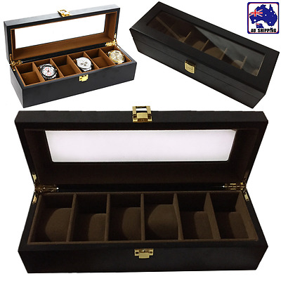 Wood Watch Display Case Box Glass Top Jewelry Storage Organizer Holder WDIS49609
