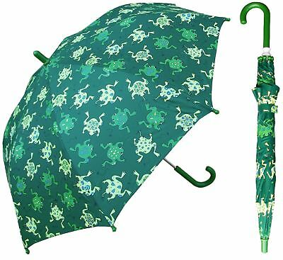 "32"" Children Green Frog Print Umbrella - RainStoppers Rain/Sun UV Cute"