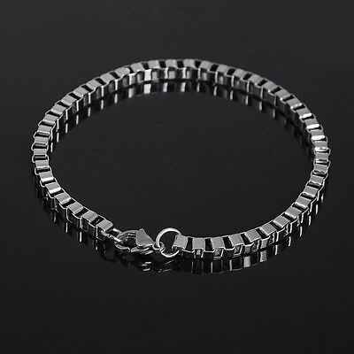 Punk Silver Men's Stainless Steel Chain Link Bracelet Wristband Bangle Jewelry