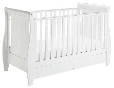 Babymore Stella Sleigh Cot Bed Dropside Drawer (White)