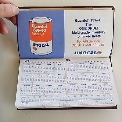 Vintage Advertising UNOCAL 76 Pocket Wallet Calendar 1986 SPECS GAS & OIL