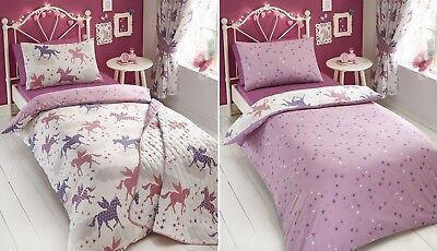 Divine Unicorns Stars Girls Duvet Quilt Cover Bedding Linen Set Pillowcase Pink