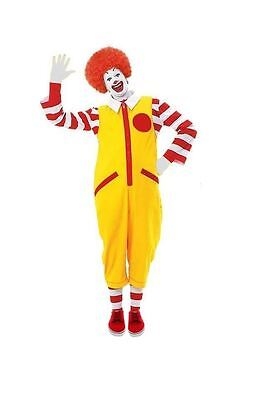 Mens Ronald The Clown Red & Yellow Fancy Dress Fast Food McDonald Meme Costume