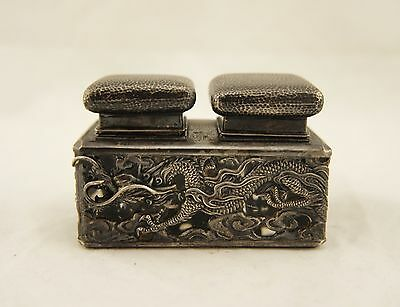 Arthur & Bond Meiji Japanese solid sterling silver coiled dragon double inkwell