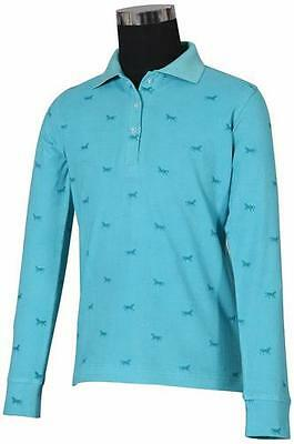 Tuffrider Madelyn Polo Shirt Child L/S Aqua Medium Ch