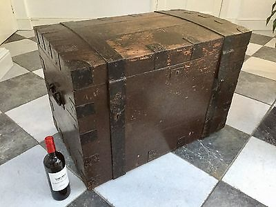 Antique 19thc Iron Bound Painted Oak Silver Chest Trunk