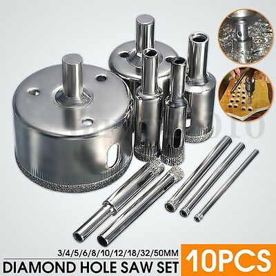 10PCS Diamond Hole Saw 3-50mm Drill Bit Saw Set Tile Ceramic Marble Glass Cutter