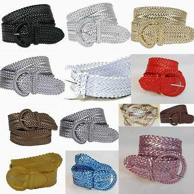 """Wide Braided Belt for Women Leather 3"""" New Cinch fashion Dress Casual 3002"""
