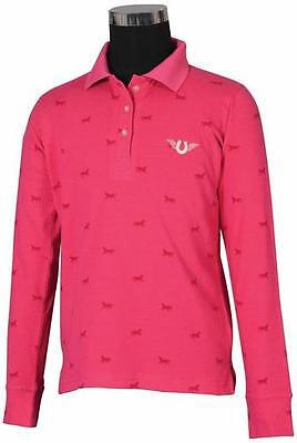 Tuffrider Madelyn Polo Shirt Child L/S Hot Pink Medium Ch