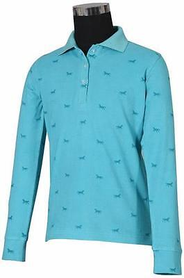Tuffrider Madelyn Polo Shirt Child L/S Aqua Small Ch
