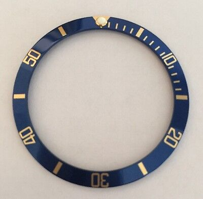 New Replacement Blue/gold Bezel Insert For Rolex Submariner 16613 - Uk Stock