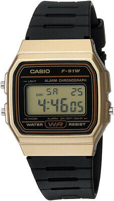 Casio Men's Digital Quartz Gold Tone Stainless Steel Black Resin Watch F91WM-9A