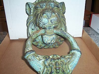 Vintage LARGE & HEAVY Lion Door Knocker - 11 by 6 inches, Cast