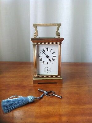 ANTIQUE 19th C FRENCH BRASS CARRIAGE CLOCK BY DUVERDRY & BLOQUEL