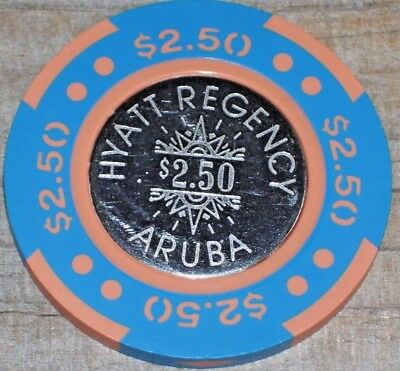 $2.50 Gaming Chip From The Hyatt Regency Casino Aruba  .