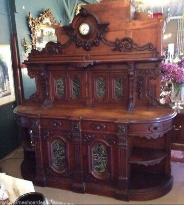 Antique Carved Oak Sideboard With Inset Marble Panels