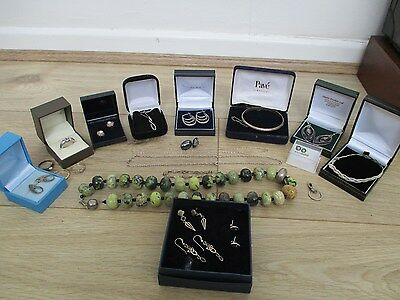job lot vintage & modern silver jewellery mostly boxed unusual lot..