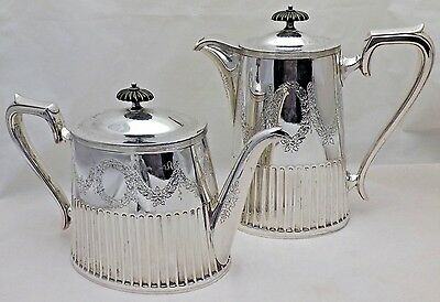 Antique Good Quality Silver Plate Tea Pot and Coffee Pot Concealed Hinges