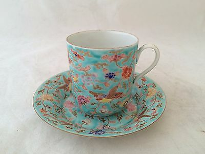 Very Unusual Marked Chinese Famille Rose Cup And Saucer