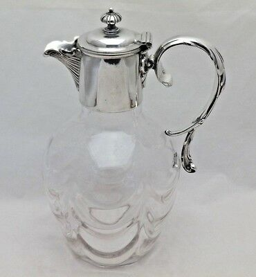 Glass Antique Wine Decanter - Claret Jug with Silver Plate Collar & Handle