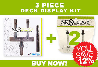 SK8OLOGY SKATEBOARD DECK DISPLAY 3 Pc Kit Floating wall Mount