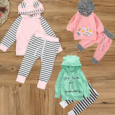 2PCS Newborn Infant Baby Boy Girls Clothes Hooded T-shirt Tops+Pants Outfits