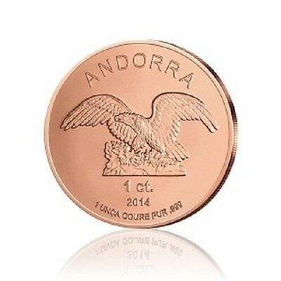 ANDORRE Cuivre 1 Centime €uro Eagle 2014 1 once - 1 Oz copper Andorra