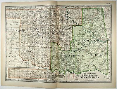 Original 1897 Map of The Oklahoma and Indian Territory by The Century Company