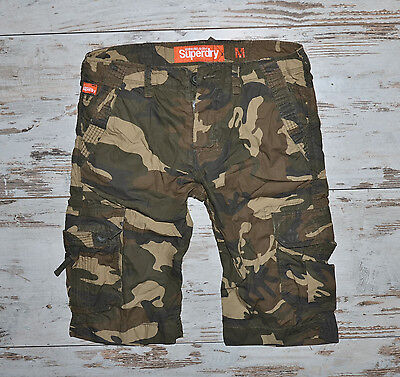 Superdy Men's Cargo Camouflage Military Shorts Size M
