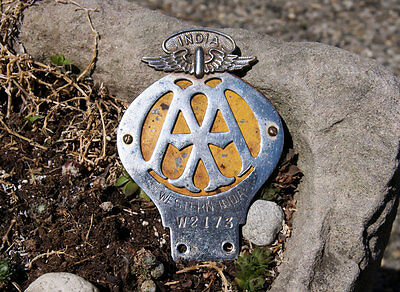 Vintage Automobile Car Club Badge # Aa Automobile Associatin Western India W2173