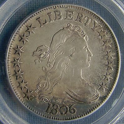 *GORGEOUS 1806 DRAPED BUST HALF DOLLAR - POINTED 6 STEM - XF45 by PCGS*