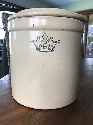 Vintage Robinson Ransbottom Pottery Co Blue Crown #2 Crock USA With Rare Lid !