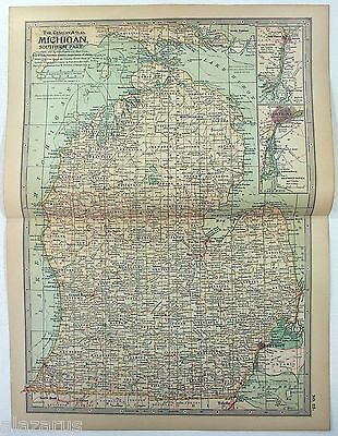 Original 1897 Map of The Southern Part of Michigan by The Century Company