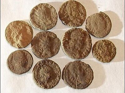 10 ANCIENT ROMAN COINS AE3 - Uncleaned and As Found! - Unique Lot 11702