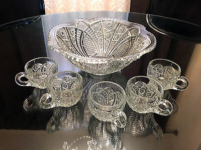 Set of 5 Glass Cups and Antique Punch Bowl
