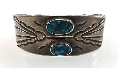 VINTAGE Navajo Turquoise and Silver Bracelet, c. 1930s, Size 6