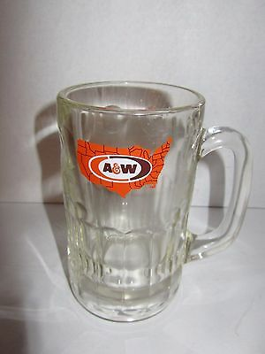 """Vintage A&W Root Beer Glass Mugs USA Map Logo Heavy 6"""" Tall"""