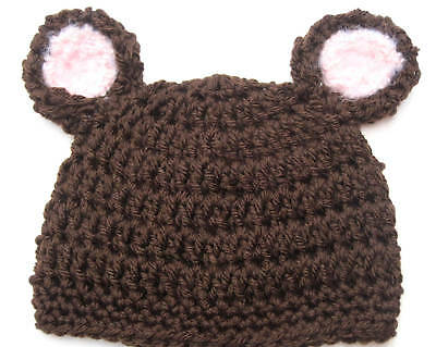NEW INFANT CROCHET BEAR BABY HAT cap beanie knit toddler brown photo prop USA