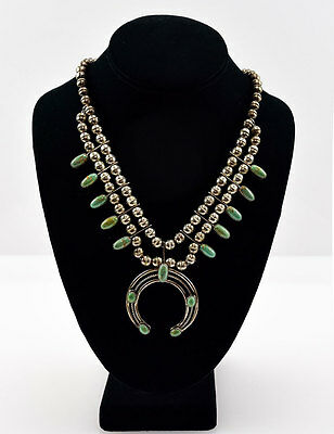 Navajo Turquoise and Silver Squash Blossom Necklace, c. 1960s