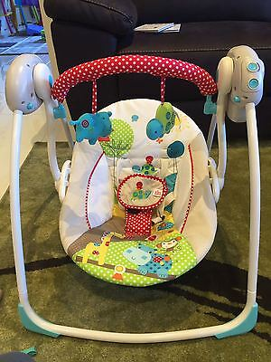 Bright Starts Polka Dot Parade Portable Swing w Soothing Melodies