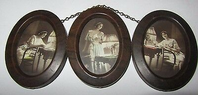 3 Vintage Oval Metal Wood-Grained Frame w/Glass Chain