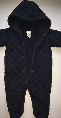 RALPH LAUREN Baby Hooded Quilted Baby Bunting coat snow suit 9 Months Navy Blue