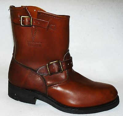 "vtg NOS Walker ""Shorty"" Motorcycle Boots engineer work brown old school biker 9"