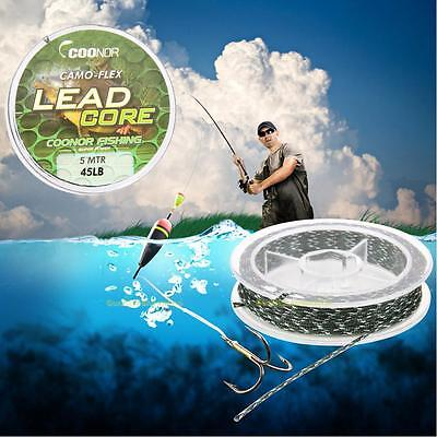 45lb 5m Leadcore Braided Camouflage Carp Fishing Line Hair Rigs Lead Core Tackle