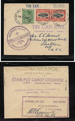 Tonga  38,39(2) on tin can mail cover  with Quensell signature          MS0913